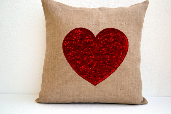 Burlap Heart Pillow Red Sequin -Decorative Pillow Cushion Cover -Valentine Gift -Wedding -Throw Pillow Multi Size -Anniversary -Gift For Mom