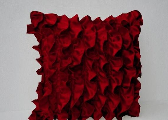 Red Satin Ruffle Pillow Cover Sofa Pillows Decorative Throw