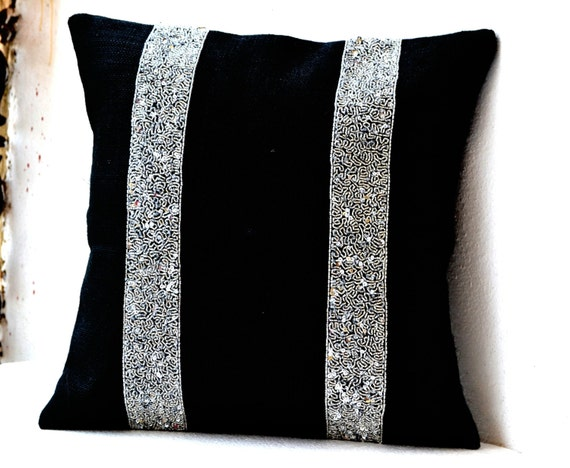 Decorative Pillow Cover In Black Burlap With Silver Sequin
