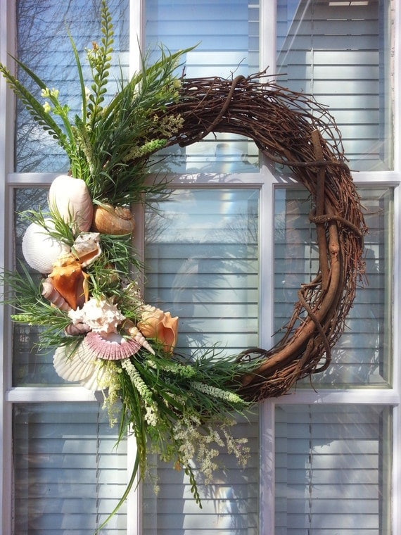 Grapevine Beach Wreath Coastal Chic Seashell Wreath