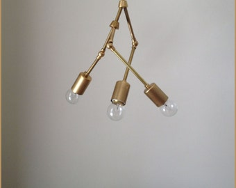 "Modern brass ""Trio"" chandelier - 3 Bulb - Number 8 MADE IN LA"