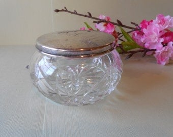 Gorham Vanity Jar Vintage Vanity Accessory Glass Powder Jar Jewelry Holder