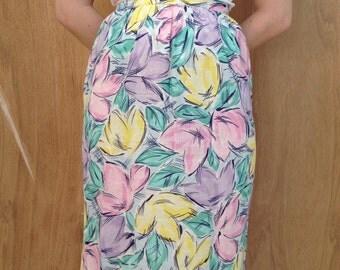 Vintage Pastel Floral High-Waisted Skirt