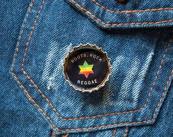 Roots Rock Reggae Upcycled Bottle Cap Rasta Button