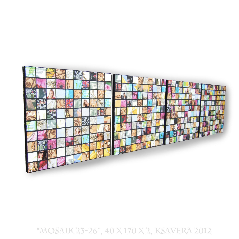 Long Wall Art napkins decoupage mosaic on canvas long vertical abstract art