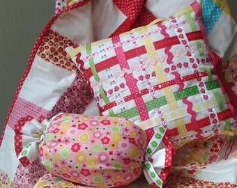 "Baby Girl Bedding Set- Girl Quilt Baby- Girl Crib Bedding- Includes Quilt 41"" X 41"" and 2 Small Pillow- Baby Girl Blanket"