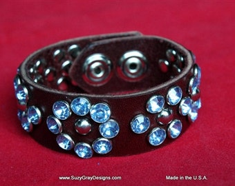 Brown Leather Cuff With Crystals - Blue Crystal Leather Cuff - Leather Crystal Bracelet - Crystal Leather Brown Bracelet - Made In USA