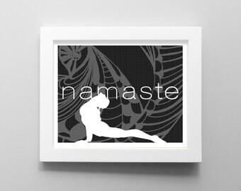 Yoga Art Print - NAMASTE Yoga Print - Yoga Studio Wall Art - Fitness Decor Wall Art - Cobra Position Art - 8x10