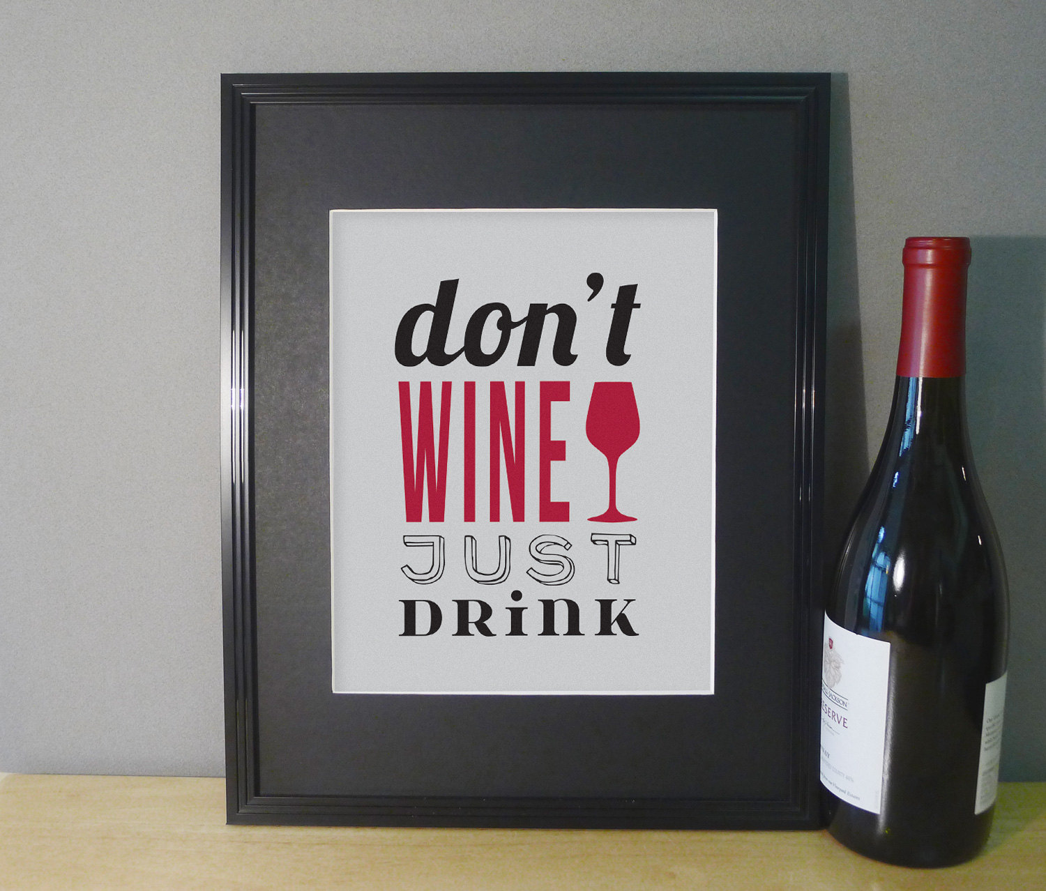 Wine wall decor art print dining room wall art typography for Wine and dine wall art