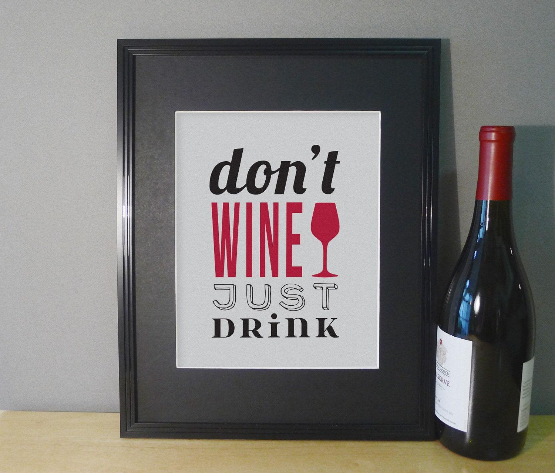 Wine Wall Decor Art Print Dining Room Wall Art Typography