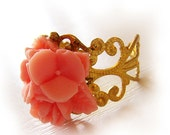 Lily Bouquet  Flower Ring in Mauve Pink with Adjustable filigree gold ring base