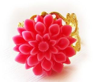 Chrysanthemum Flower Ring - Hot Pink  Flower Ring - Adjustable filigree gold ring