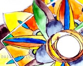 Inked Watercolor Mandala: Art Print