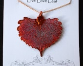 Iridescent Leaf Pendant,  REAL Cottonwood Leaf Necklace in Iridescent copper, Rose gold chain, bridesmaid, wedding, Mother's Day