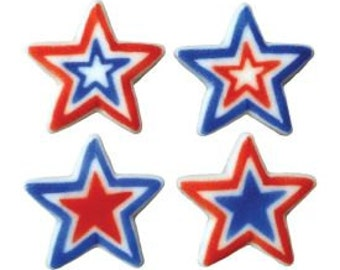 Large Patriotic  Stars Edible Sugar Dec Ons-Bake up some 4th of July treats with these  Patriotic Stars.Packaged in an assortment of 12.