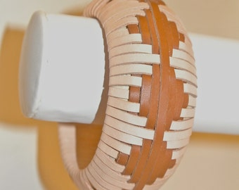 Leather Bangle Woven in a Continuous Diamond Pattern
