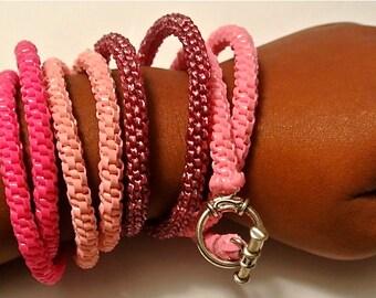 Woven Double Wrap Plastic Bracelet, Color Families- Oranges, Pinks/Reds, and Neutrals