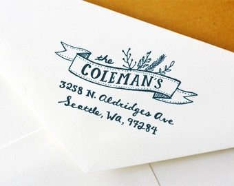 Return Address Stamp: Custom Garden Ribbon Address Stamp