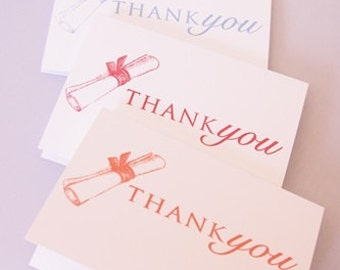 Graduation Diploma Hand Stamped Thank You Cards Set of Ten, Thank You Graduation Note Cards