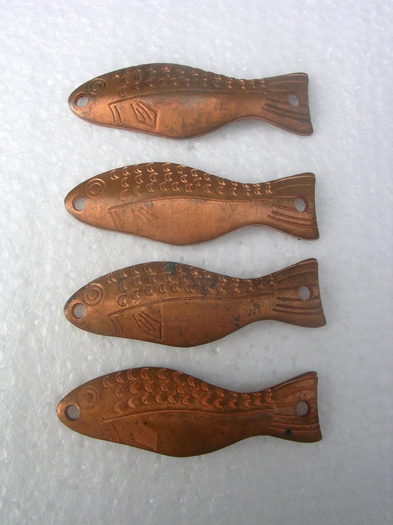 Four 4 Solid Copper Fishing Lures Mint By Tombstonetreasures
