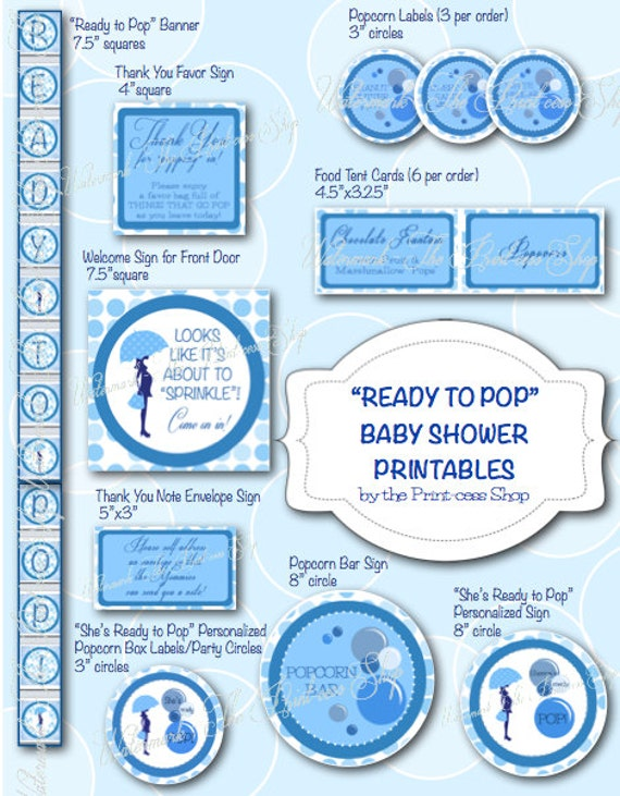 ready to pop baby shower blue printable decoration pack personalized
