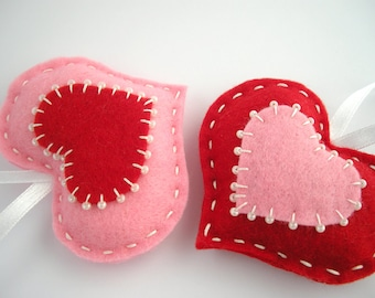 Felt heart ornaments, valentines day decor, gift tags, hanging hearts, red pink hearts, puffy hearts, beaded heart ornament, gifts under 20