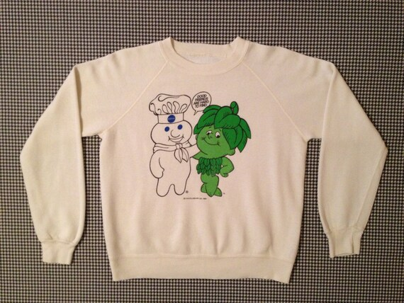 """Pillsbury Doughboy and Jolly Green Giant, """"Good Friends Are Hard To Find"""" white sweatshirt"""