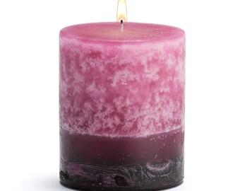 "Stone Candles 3"" x 3"" Fresh Pillar Candle, Ginger Peach"