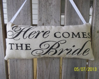Here Come The Bride Stenciled Wedding Primitive Pillow