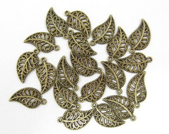 20pcs Leaf with Swirls Bronze Look Charms (F376)