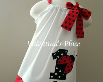 Ladybug Birthday Pillowcase Dress (Monogram and number included)