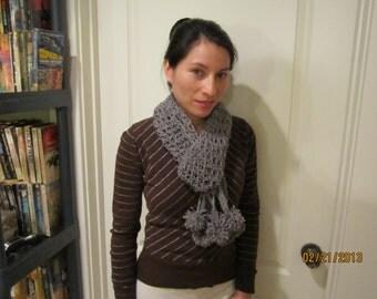 Gray pompom scarf - Long crochet scarf