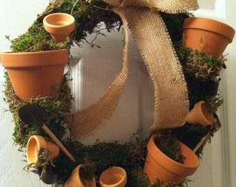 "16"" Tumbling Pots  Wreath, Flower Pot Wreath, Potting Wreath, Moss Wreath"