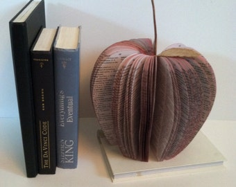 LARGE Upcycled Book Apple, book apple, large apple book