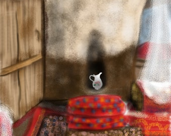 Iran Kandovan Stone Village Home Interior, wall art, art print, artwork, painting, Iran, Persian, Persian carpets, vase, stone house