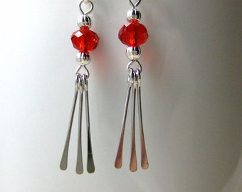 Red Crystal Dangle Earrings, Silver Paddle Drops
