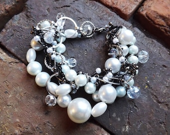 White Pearls, Faceted Glass Beads in Gunmetal Black and Silver Wedding Bracelet