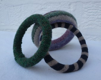 Recycled jewelry stacking bangles purple & green wool eco-friendly bangles upcycled vintage jewellery Three bangles bohemian women bracelets