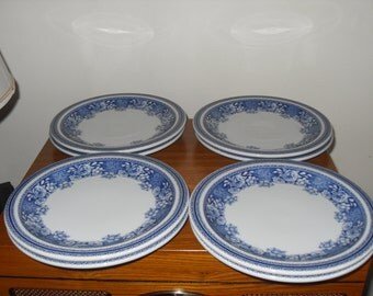 Mosa of Maastricht Dutch  Netherlands - Royal Holland. 8  blue and white breakfast plates.