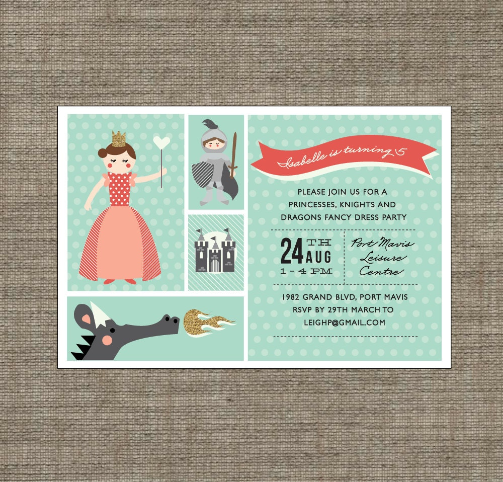 princess and knight party invitation printable pdf in teal