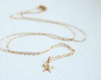Tiny Gold Starfish Necklace, starfish necklace, beach wedding,