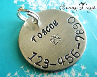Large Pet I.D. Tag with Name, Phone Number and Paw Print - Hand Stamped - Dog - Cat - Name Tag