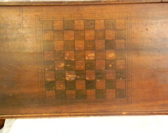1800'S Wooden Checkerboard, Made from Pine, Orginal Finish, Naturally Warped And Pulled From The Outer Frame