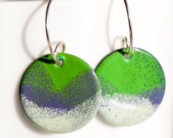 Enamel Disc Earrings in Green, Purple, White, Handmade Sterling Silver Ear Wire, Torch Fired Enamel, Dangle, Spring Meadow, Copper Enamel
