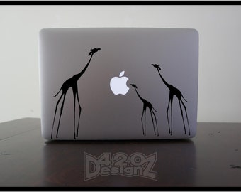 Giraffe Family   - Macbook Air, Macbook Pro,  Macbook decals, sticker Vinyl Mac decals Apple Mac Decal, Laptop, iPad