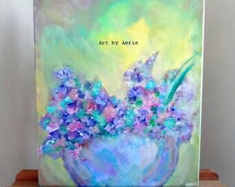 Sweet Violet Flowers Painting, Original Modern Impressionist Acrylic Fine Art by Aeris Osborne, Stretched Canvas