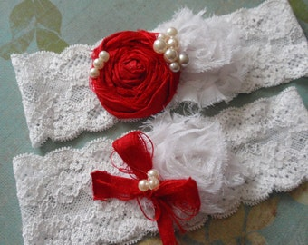 White and Red Wedding Garters, Shabby Garter Set, Bridal Accessory, Lace Garters, Vintage Inspired Garters, Red Lingerie, Bridal Lingerie,