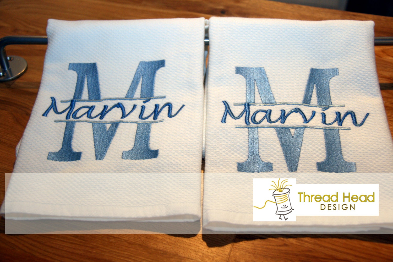 Personalized Kitchen Towels With Split Monogram Letter Set