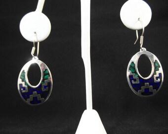 Beautiful Southwestern Design Inlayed Dangle Earrings