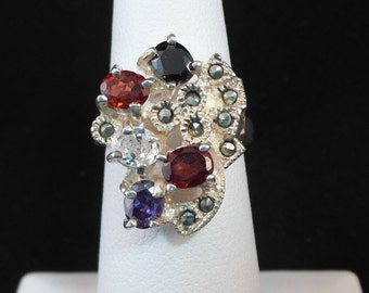 Sterling Silver Real Multi-Color Gemstone RIng